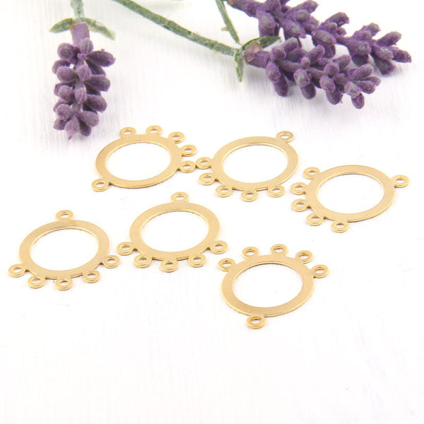 Gold, Chandelier Earring Components with 5 loops, 22k Matte Gold Plated, 6 pieces // GC-451