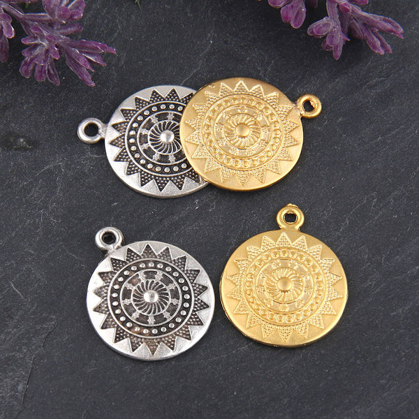 Round Tribal Mandala Patterned Antique Silver Plated Pendant Charms, 22mm, 2 pieces // SP-278