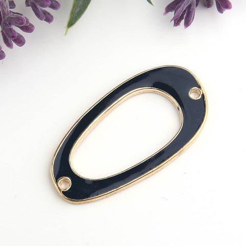 Black, Off Oval Enamel Connector, Geometric Link, 1 piece // GC-469