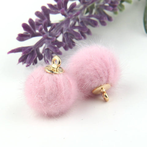 SALE, Pink, Faux Fur Bead Charms, Fur Charms, Pom Pom Charms,Fur Bead Dangles, 2 pieces