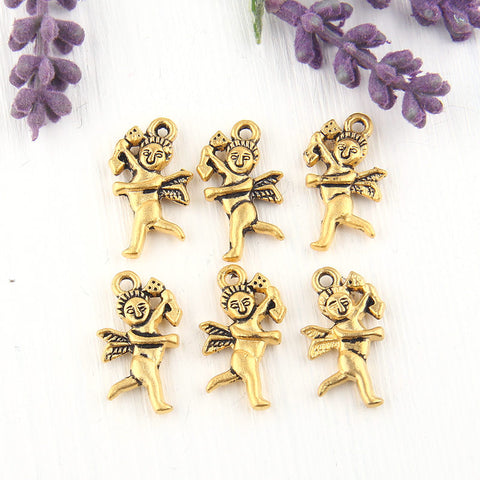 Love Angel Charms, Gold Cupid Charms, Gold Angel Dangles, Angel Jewelry, 22k Matte Gold Plated, 6 pieces //  GCh-227