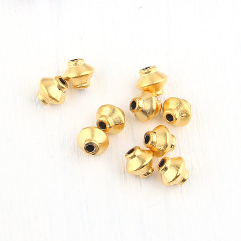 Metal Brass Bicone Beads, Gold Bicone Beads, 7mm, 10 pieces // GB-188