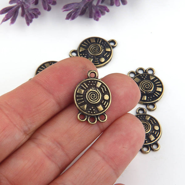 Bronze, Multi Link Round Tribal Connector, 3-loop Earring Chandelier, Earring Link, End Link, 6 pieces // ABC-026