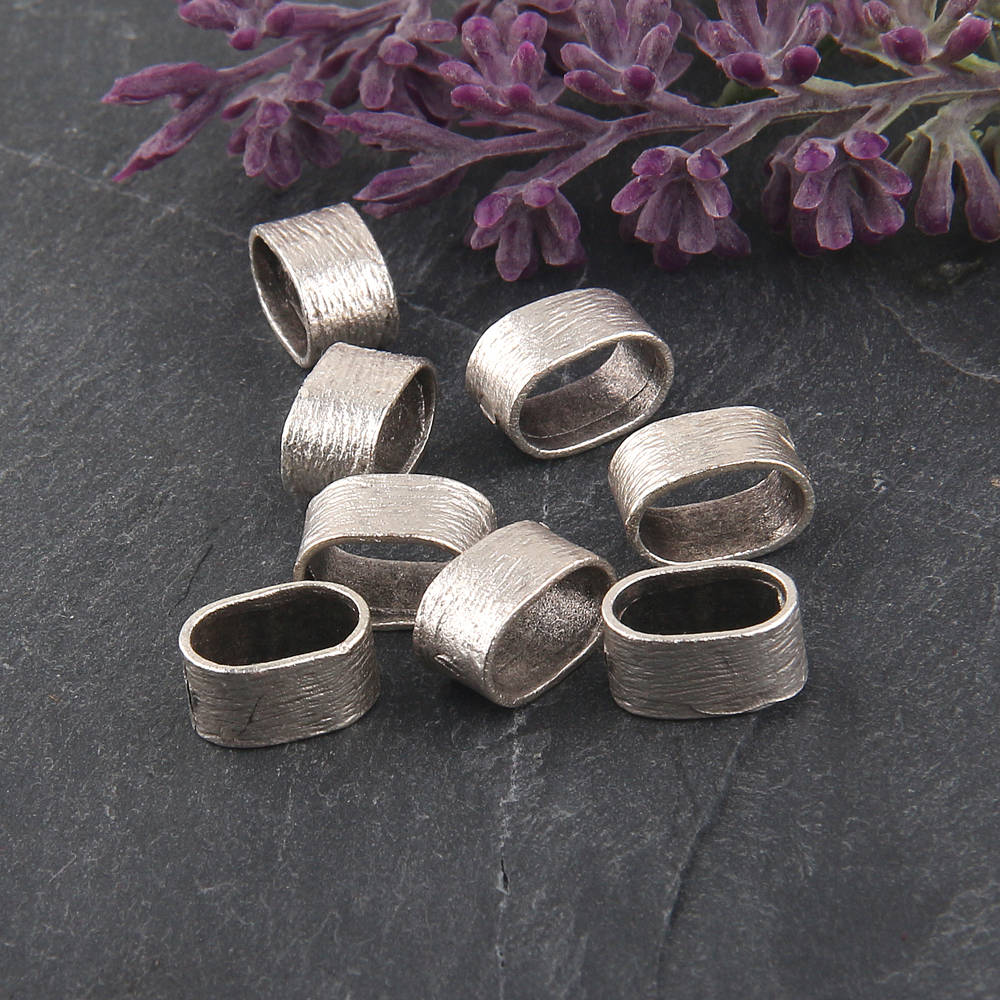 Silver, Textured Slide Crimp Beads, Textured, Slider Tube, Bead Band Spacer, 12x6mm, 8 pcs // SF-100
