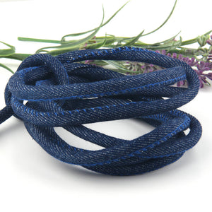 SALE, Dark Denim Fabric Cord Rope, Thick Cotton Rope, Jewerly Rope, Bracelet Rope, 7mm, 2 meters/2.18 yards // CRD-029