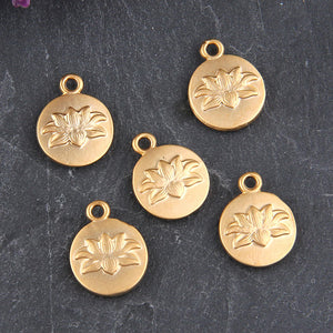Gold Lotus Flower Charms, Flower Charms, Lotus Charms, Gold Plated 5 pieces // GCh-237