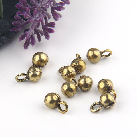 Antique Bronze, Mini Drop Ball Charms, Drop Charms, Bronze Ball Charms, 10 pcs // ABCh-031