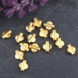 Mini Flat Barrel Tube Bead Spacers, Barrel Tube Slides, Gold Plated, 15 pieces // GB-196
