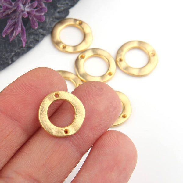 Gold, Mini Flat Circle Connectors, Circle Organic Connectors, Gold Ring Link, 14 mm, 6 pieces // GC-483