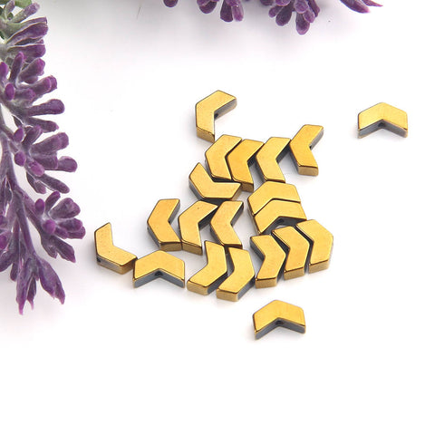 SALE, Gold, Mini Chevron Hematite Gemstone Beads, Hematite Beads, Chevron Beads, Gold Coated, 20 pcs // BD-063