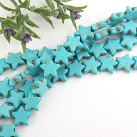 SALE, Mini Star Turquiose Beads, Mini  Turquoise Beads, Small Star Beads, 15 pcs // BD-060