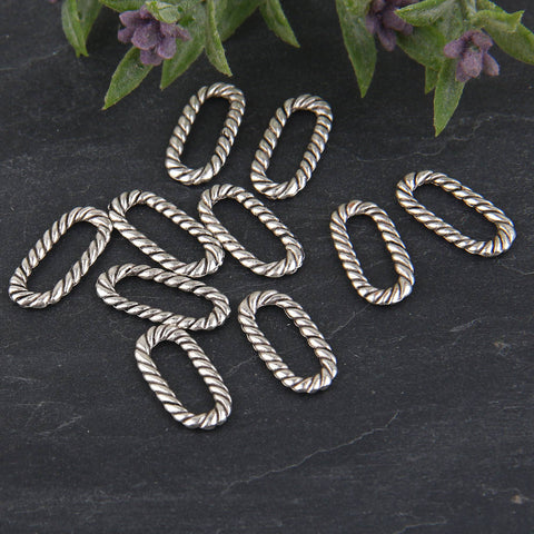 Silver Twisted Oval Ring Connectors, Oval Jump Rings, 10 pieces // SC-198