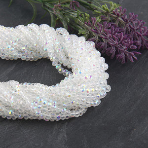 SALE, Clear AB Luster, Faceted  Rondelle Chinese Crystal Beads, Crystal Rondelle Beads, 1 strand-135 pcs // BD-066