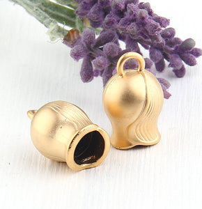 Bell Shaped Gold Plated Tassel Cap, Cord End, End Caps, Gold Cone, 2 pieces // GF-149