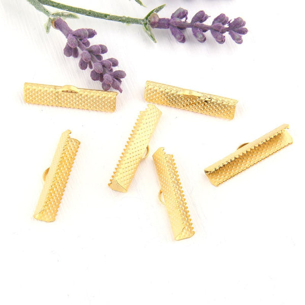 Gold Ribbon Clips, Cord Clamp,30 mm, 6 pieces // GF-152