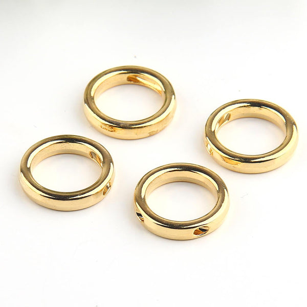 Circle, Geometrical Mini Gold  Pendants, Minimal Jewelry, Geometric Jewelry, 15,50mm, 4 pieces // GB-194