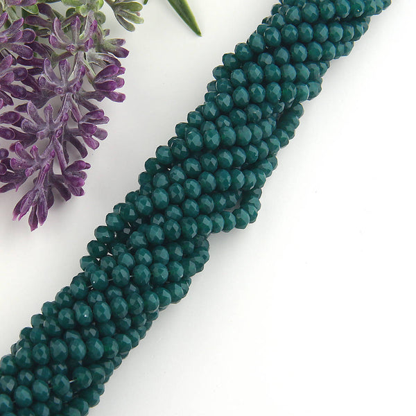 SALE, Emerald Green, Faceted  Rondelle Chinese Crystal Beads, Crystal Rondelle Beads, 1 strand-135 pcs // BD-066