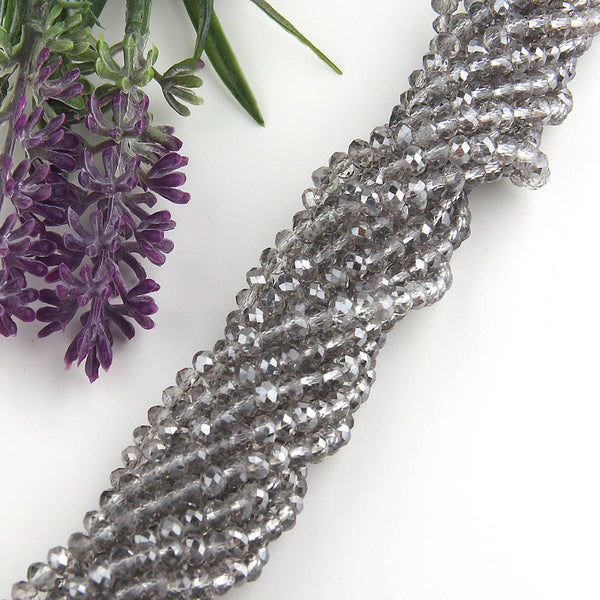 SALE, Smokey Gray-AB Luster, Faceted  Rondelle Chinese Crystal Beads, Crystal Rondelle Beads, 1 strand-135 pcs // BD-066