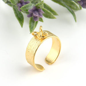 Ring Base with Loops, Gold Textured Ring Base, Adjustable Ring Bezel, 21mm, 1 piece // GF-155