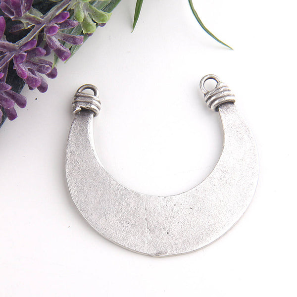 Silver, Tribal Crescent Pendant with Tree Peel Pattern, 1 piece // SP-307