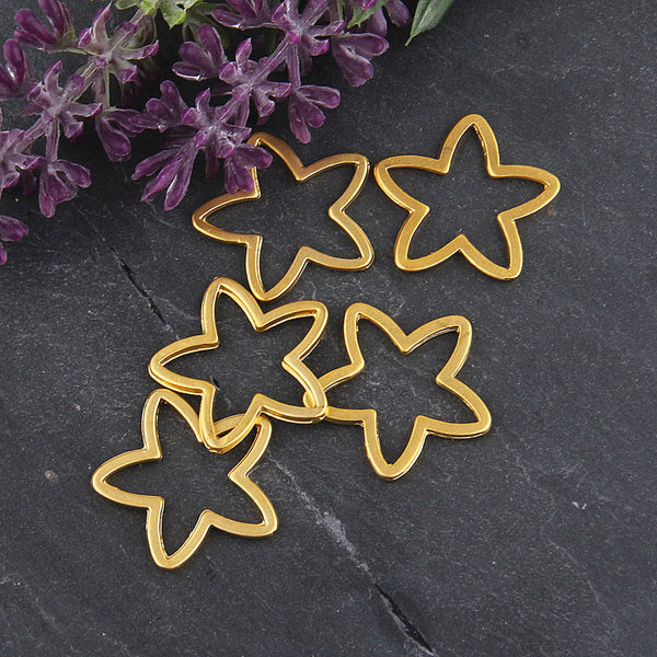 Gold Plated Star Connector Links, Star Connector, Star Links, Star Link Pendants, 5 pieces // GC-492