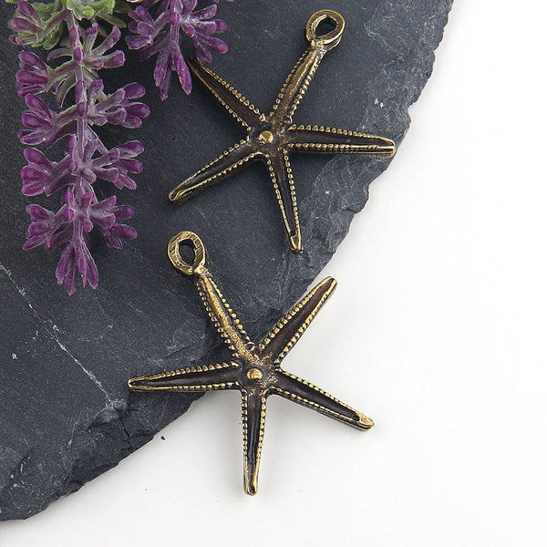 Bronze Plated Star Pendant, Sea Star, Starfish Pendant, Starfish Charms, 2 pieces // ABP-084