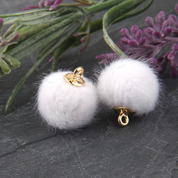 SALE, White, Faux Fur Bead Charms, Fur Charms, Pom Pom Charms,Fur Bead Dangles, 2 pieces