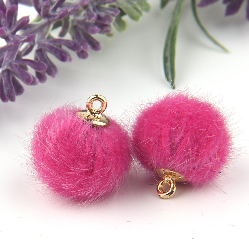 SALE, Fuschia, Faux Fur Bead Charms, Fur Charms, Pom Pom Charms,Fur Bead Dangles, 2 pieces