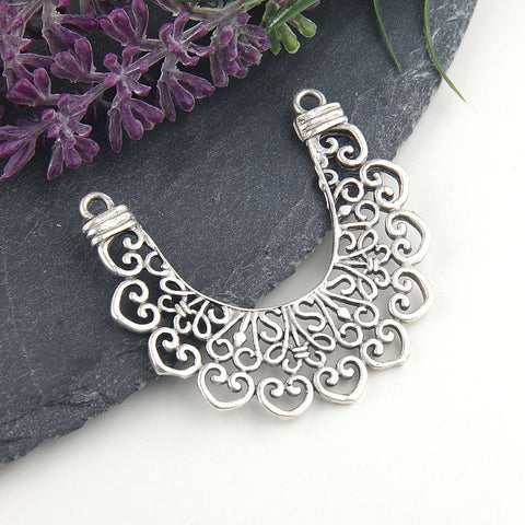 Silver Fretwork Lace Pendant Connector, Tribal Lace Connector, 1 piece // SC-207