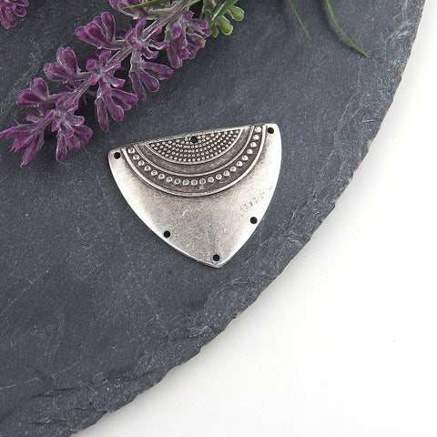 Silver, Tribal Triangle Pendant Connector, Textured Tribal Pendant, Triangle Tribal Connector, 1 piece // SC-208