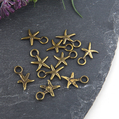 Antique Bronze Mini Sea Star Charms, Bronze Starfish Charms, 10 pieces // ABCh-033