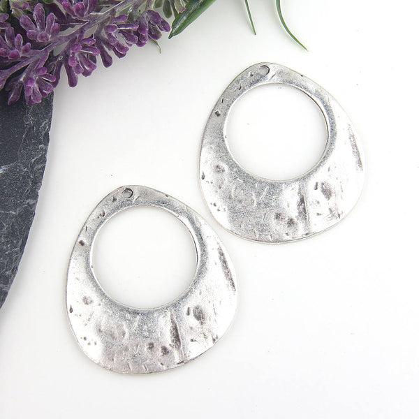 Silver, Organic, Textured Oval Cut Out Pendants, Earring Pendants,2 pieces // SP-318