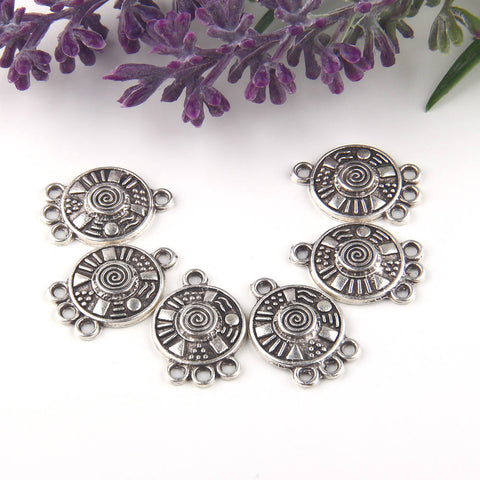 Silver, Multi Link Round Tribal Connector, 3-loop Earring Chandelier, Earring Link, End Link, 6 pieces // SC-201