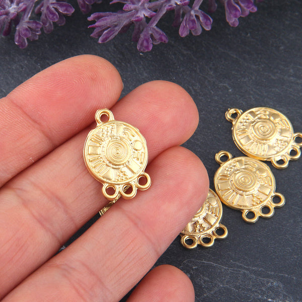 Gold, Multi Link Round Tribal Connector, 3-loop Earring Chandelier, Earring Link, End Link, 6 pieces // GC-477