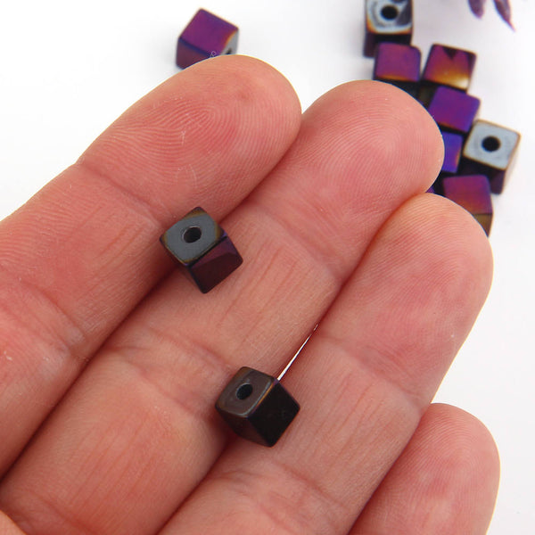 SALE, Cherry, Mini Cube Hematite Gemstone Beads, Hematite Beads, Cubular Beads, Cherry Coated,6mm, 20 pcs // BD-064