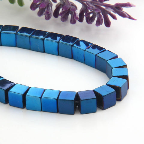 SALE, Parliament Blue, Mini Cube Hematite Gemstone Beads, Hematite Beads, Cubular Beads,Parliament Blue  Coated,6mm, 20 pcs // BD-064