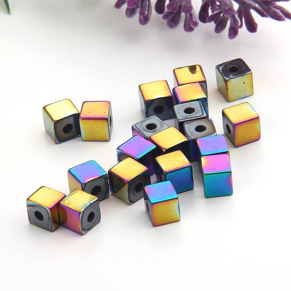 SALE, Multicolor, Mini Cube Hematite Gemstone Beads, Hematite Beads, Cubular Beads,Multicolor  Coated,6mm, 20 pcs // BD-064