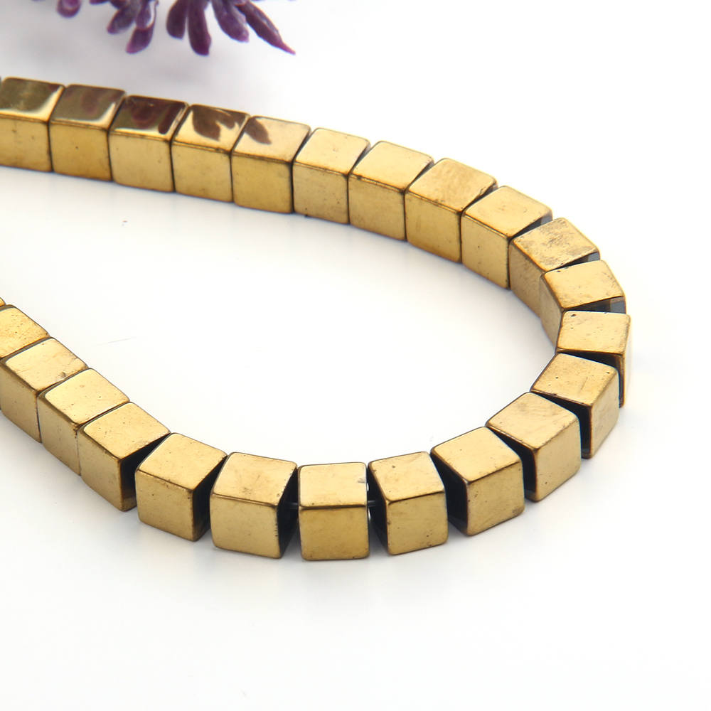 SALE, Gold, Mini Cube Hematite Gemstone Beads, Hematite Beads, Cubular Beads, Gold  Coated,6mm, 20 pcs // BD-064