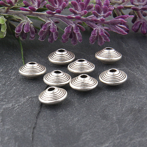 Silver, Saucer Beads, Striped Saucer Beads, 8 pieces // SB-116