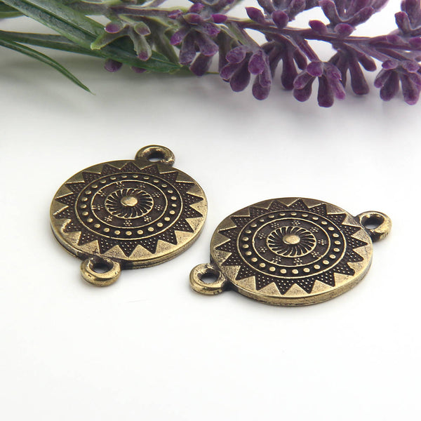 Antique Bronze, Round Mandala Patterned Tribal Connector, Mandala Connector, Tribal Link, 2 pcs // ABC-028