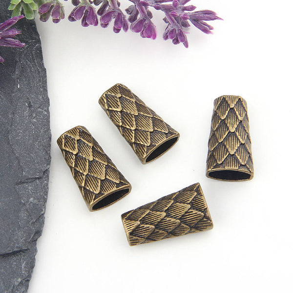 Bronze Snake Skin Patterened Cones, Bronze Tassel Caps, End Caps, Cord End Caps, 4 pieces //ABF-021