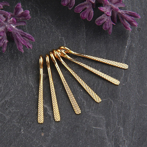Shiny Gold, Textured Flat Long Drop Charms, Gold Charms, Long Charms, 6 pieces // GCh-241