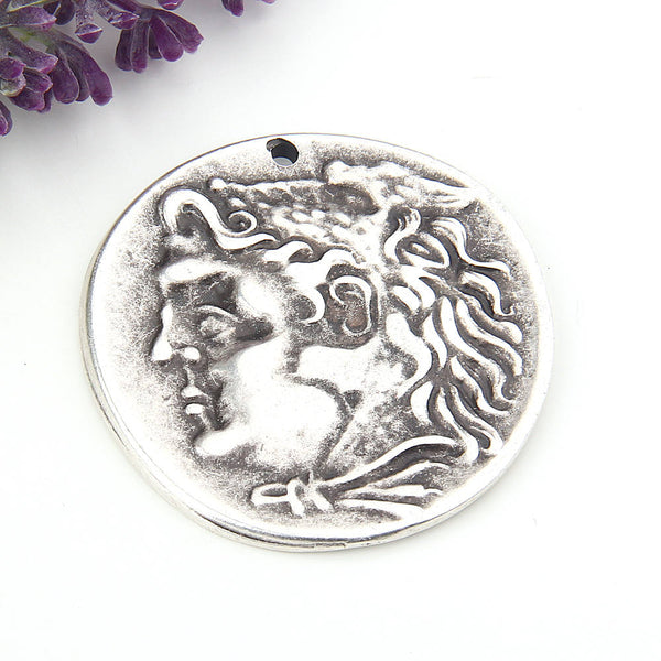 Replica Ancient Greek Coin Pendant, Silver, Old Greek Pendant, 1 piece // SP-322