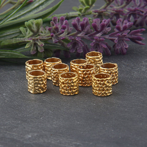 Spongy Large Hole Cylinder Tubular Beads, Gold Large Hole Beads, 10 pcs // GB-218