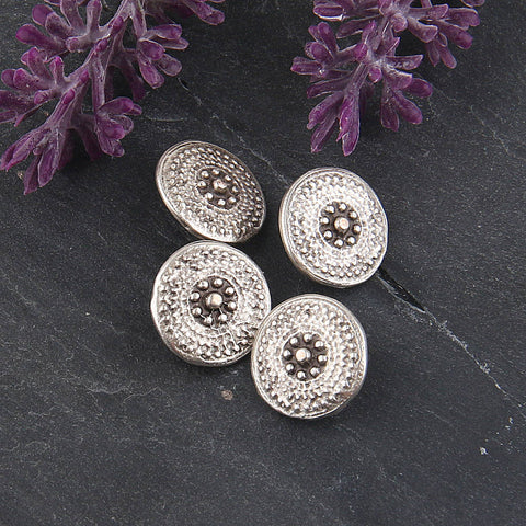 SALE, Silver, Tribal Button Beads, Spotted Button Beads, Button Beads, Metal Beads, 4 pieces // SB-109