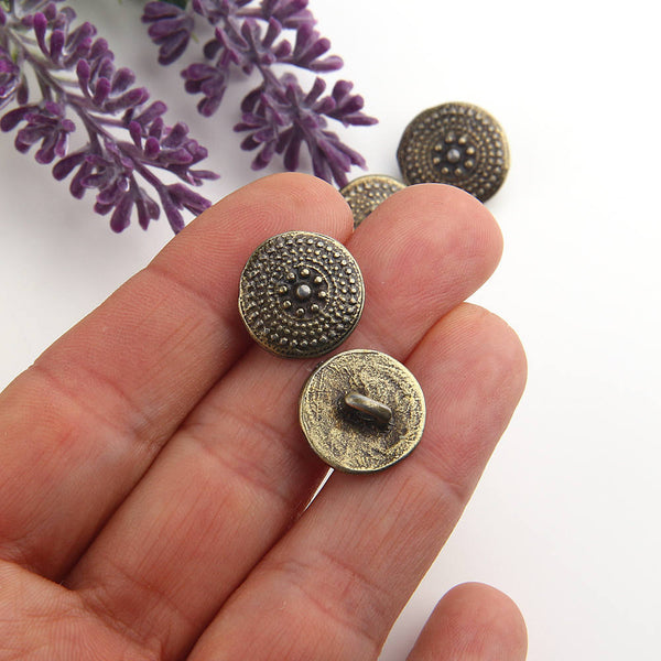 Bronze, Tribal Button Beads, Spotted Button Beads, Button Beads, Metal Beads, 4 pieces // ABB-033