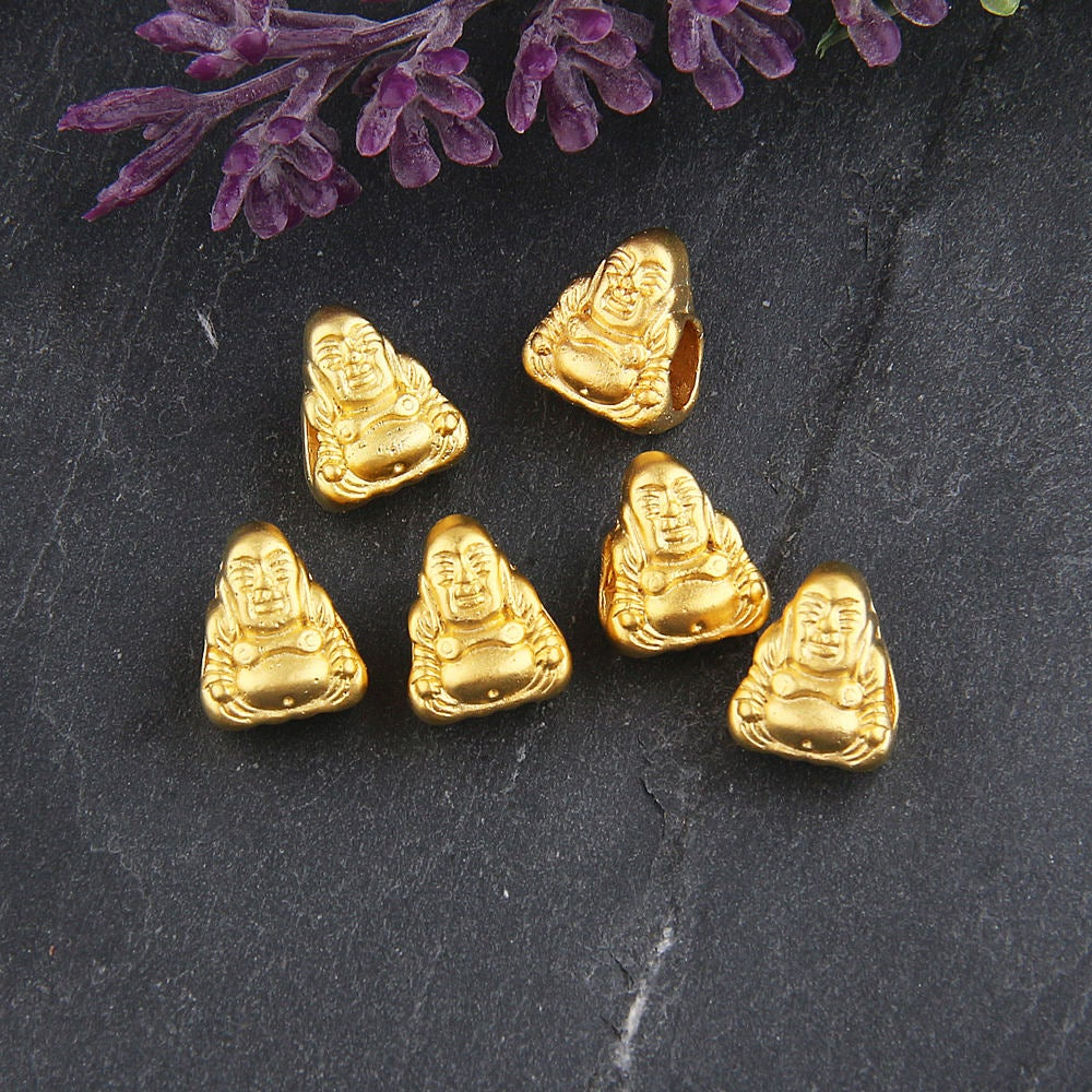 Gold, Large Hole Tibetan Buddha Beads, European Buddha Beads, Sitting Buddha Beads, 6 pieces // GB-204