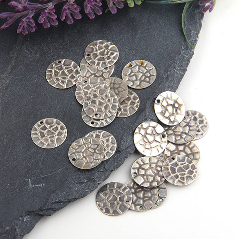 Silver, Textured Round Thin Coin Charms, Thin Disc Charms, Disc Circle Charms, 25 pieces //SCh-156