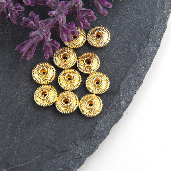 Gold, Textured Bicone Beads, Gold Bicone Beads, 10 pieces // GB-205