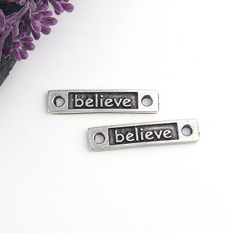 Believe, Silver Stamped Quote Rectangular Bracelet Link, Quote Connectors, 2 pieces // SC-206
